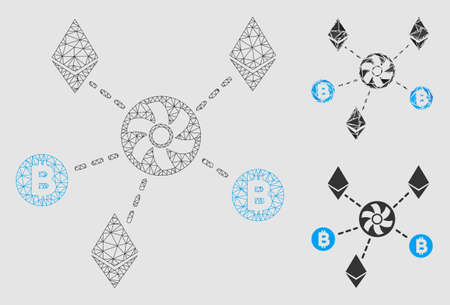 Mesh cryptocurrency blender rotor model with triangle mosaic icon. Wire frame polygonal mesh of cryptocurrency blender rotor. Vector mosaic of triangle parts in different sizes and color tones.