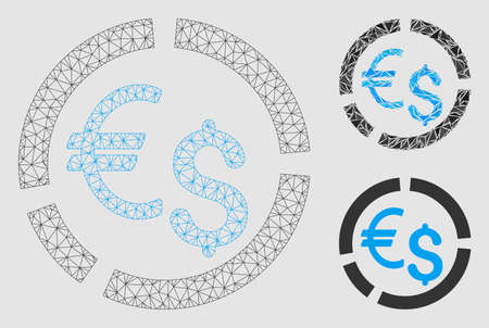 Mesh currency diagram model with triangle mosaic icon. Wire frame triangular network of currency diagram. Vector collage of triangle parts in different sizes and color shades.