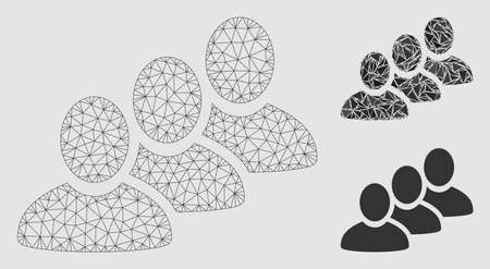 Mesh customer queue model with triangle mosaic icon. Wire carcass polygonal mesh of customer queue. Vector composition of triangle parts in different sizes and color tints.