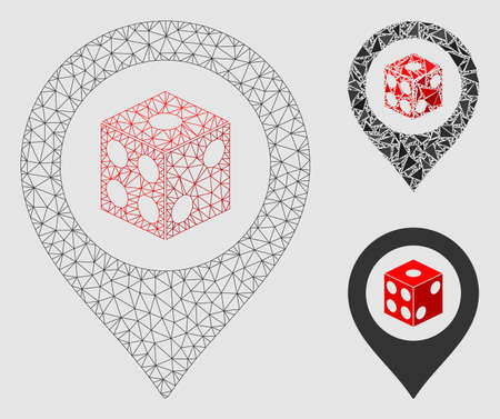 Mesh dice map pointer model with triangle mosaic icon. Wire frame triangular network of dice map pointer. Vector composition of triangle elements in different sizes and color shades.