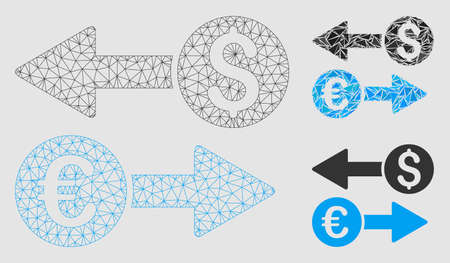 Mesh currency transfers model with triangle mosaic icon. Wire frame triangular mesh of currency transfers. Vector mosaic of triangle elements in different sizes and color shades.