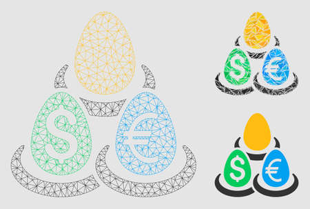 Mesh currency deposit diversification model with triangle mosaic icon. Wire frame triangular mesh of currency deposit diversification. Illustration