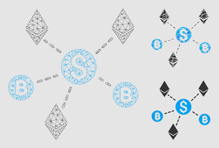 Mesh cryptocurrency network model with triangle mosaic icon. Wire carcass polygonal mesh of cryptocurrency network. Vector mosaic of triangle parts in various sizes and color hues. Ilustração