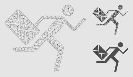 Mesh courier model with triangle mosaic icon. Wire frame polygonal network of courier. Vector mosaic of triangle parts in various sizes and color hues. Abstract flat mesh designed with polygonal grid. Stock Illustratie