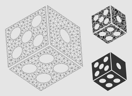 Mesh dice model with triangle mosaic icon. Wire frame triangular network of dice. Vector mosaic of triangle parts in various sizes and color hues. Abstract 2d mesh designed with polygonal grid.