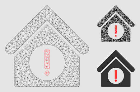 Mesh danger building model with triangle mosaic icon. Wire frame triangular mesh of danger building. Vector mosaic of triangle parts in different sizes and color tints.