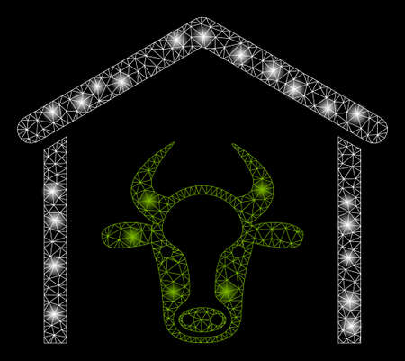 Bright mesh cow garage with glare effect. Abstract illuminated model of cow garage icon. Shiny wire frame triangular mesh cow garage abstraction in vector format on a black background.
