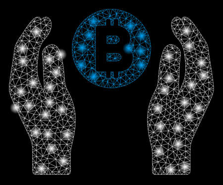 Bright mesh Bitcoin care hands with glow effect. Abstract illuminated model of Bitcoin care hands icon. Illustration