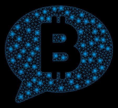Bright mesh Bitcoin message with glare effect. Abstract illuminated model of Bitcoin message icon.