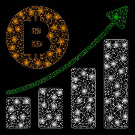 Bright mesh Bitcoin growing trend with glare effect. Abstract illuminated model of Bitcoin growing trend icon.