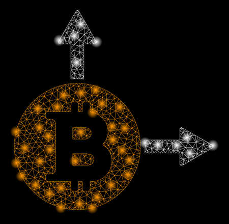 Bright mesh Bitcoin fork with glow effect. Abstract illuminated model of Bitcoin fork icon. Shiny wire frame triangular network Bitcoin fork abstraction in vector format on a black background.