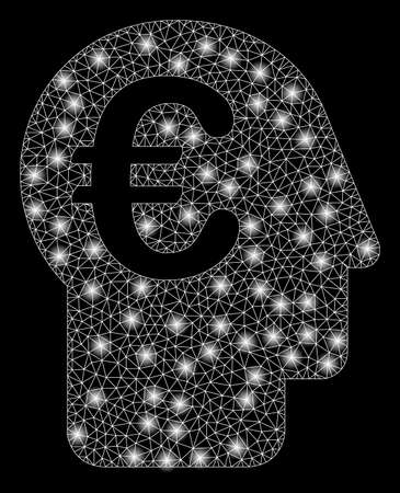 Bright mesh euro banker with glare effect. Abstract illuminated model of euro banker icon. Shiny wire carcass polygonal mesh euro banker abstraction in vector format on a black background.
