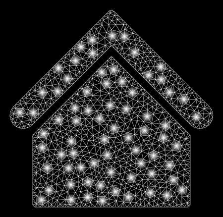 Bright mesh base building with glare effect. Abstract illuminated model of base building icon. Shiny wire carcass polygonal mesh base building abstraction in vector format on a black background.