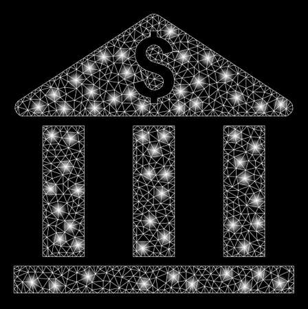 Bright mesh bank building with lightspot effect. Abstract illuminated model of bank building icon. Shiny wire frame polygonal mesh bank building abstraction in vector format on a black background. Illustration