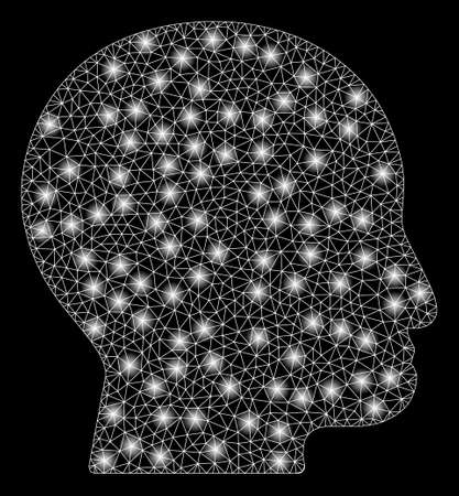 Bright mesh bald head with glow effect. Abstract illuminated model of bald head icon. Shiny wire frame polygonal mesh bald head abstraction in vector format on a black background.