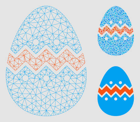 Mesh easter egg model with triangle mosaic icon. Wire frame triangular mesh of easter egg. Vector composition of triangle elements in different sizes and color tones. Abstract flat mesh easter egg,