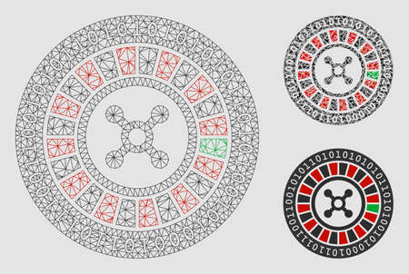 Mesh digital casino roulette model with triangle mosaic icon. Wire frame triangular network of digital casino roulette. Vector mosaic of triangle elements in various sizes and color hues.