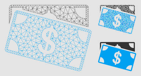 Mesh dollar banknotes model with triangle mosaic icon. Wire carcass triangular mesh of dollar banknotes. Vector mosaic of triangle elements in different sizes and color tones.