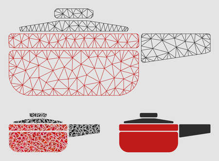 Mesh dripping pan model with triangle mosaic icon. Wire frame triangular mesh of dripping pan. Vector mosaic of triangle parts in variable sizes and color tinges. Abstract flat mesh dripping pan,