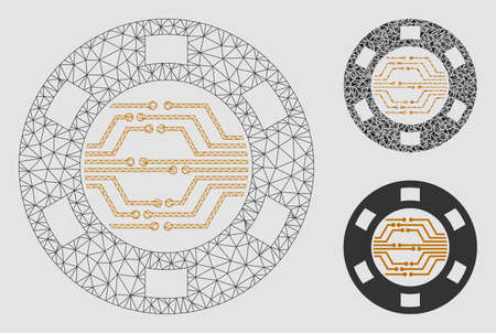 Mesh digital casino chip model with triangle mosaic icon. Wire carcass triangular mesh of digital casino chip. Vector mosaic of triangle elements in variable sizes and color tinges.