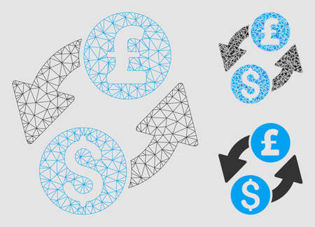 Mesh dollar pound exchange model with triangle mosaic icon. Wire carcass triangular network of dollar pound exchange. Vector mosaic of triangle parts in variable sizes and color shades.
