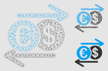 Mesh Dollar Euro exchange model with triangle mosaic icon. Wire carcass triangular mesh of Dollar Euro exchange. Vector mosaic of triangles in different sizes and color tones. Stock Illustratie
