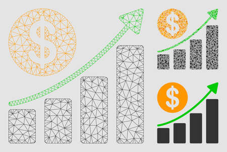 Mesh dollar growth graph model with triangle mosaic icon. Wire frame triangular mesh of dollar growth graph. Vector composition of triangle elements in variable sizes and color tones.