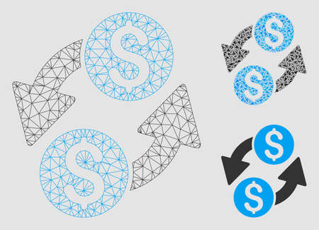 Mesh dollar exchange model with triangle mosaic icon. Wire carcass triangular mesh of dollar exchange. Vector composition of triangle elements in various sizes and color tones.