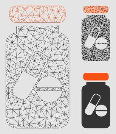 Mesh drugs phial model with triangle mosaic icon. Wire carcass polygonal mesh of drugs phial. Vector collage of triangle elements in various sizes and color shades. Abstract flat mesh drugs phial,