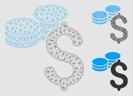 Mesh dollar coins model with triangle mosaic icon. Wire carcass polygonal mesh of dollar coins. Vector mosaic of triangle parts in variable sizes and color tints. Abstract 2d mesh dollar coins,