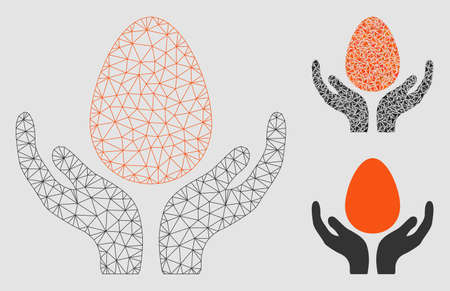 Mesh egg incubator hands model with triangle mosaic icon. Wire carcass polygonal mesh of egg incubator hands. Vector mosaic of triangles in different sizes and color tints.