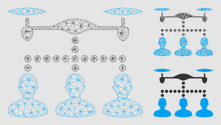 Mesh drone clients connection model with triangle mosaic icon. Wire carcass triangular mesh of drone clients connection. Vector mosaic of triangle elements in various sizes and color tones.