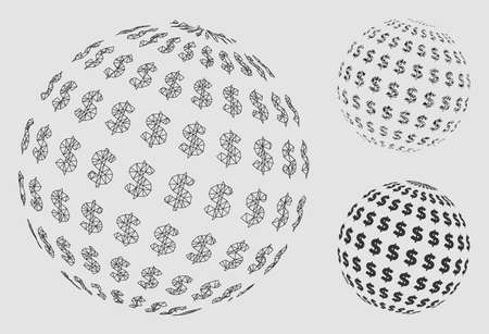 Mesh dollar abstract sphere model with triangle mosaic icon. Wire frame triangular mesh of dollar abstract sphere. Vector composition of triangle elements in different sizes and color tints.
