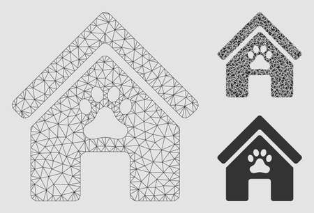 Mesh doghouse model with triangle mosaic icon. Wire carcass polygonal network of doghouse. Vector mosaic of triangle elements in various sizes and color tints. Abstract flat mesh doghouse, Illustration