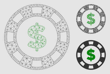 Mesh dollar casino chip model with triangle mosaic icon. Wire carcass triangular mesh of dollar casino chip. Vector collage of triangle elements in various sizes and color tints.