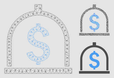 Mesh dollar deposit model with triangle mosaic icon. Wire frame triangular mesh of dollar deposit. Vector mosaic of triangle parts in variable sizes and color tints. Abstract flat mesh dollar deposit, Illusztráció