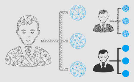Mesh distribution manager model with triangle mosaic icon. Wire carcass triangular network of distribution manager. Vector mosaic of triangle elements in various sizes and color tinges. Ilustração