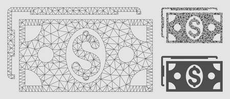 Mesh dollar banknotes model with triangle mosaic icon. Wire frame polygonal mesh of dollar banknotes. Vector composition of triangle parts in various sizes and color tints. Illustration