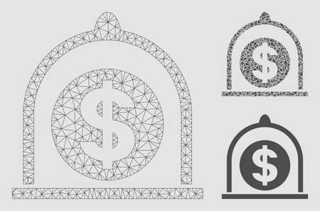 Mesh dollar standard model with triangle mosaic icon. Wire carcass triangular mesh of dollar standard. Vector mosaic of triangle parts in different sizes and color shades.