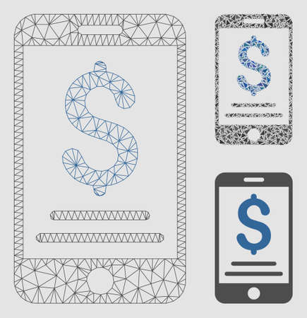Mesh dollar mobile payment model with triangle mosaic icon. Wire frame polygonal mesh of dollar mobile payment. Vector composition of triangle parts in variable sizes and color tints.