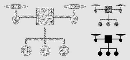 Mesh drone distribution model with triangle mosaic icon. Wire frame triangular network of drone distribution. Vector mosaic of triangle parts in various sizes and color tones.