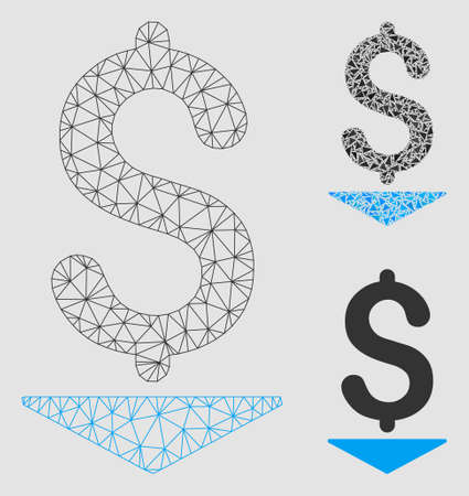 Mesh dollar down model with triangle mosaic icon. Wire carcass triangular mesh of dollar down. Vector collage of triangle parts in different sizes and color tones. Abstract flat mesh dollar down,