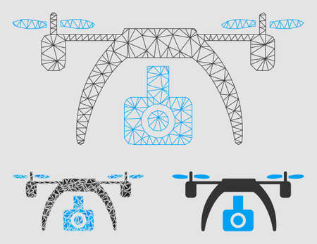 Mesh drone video camera model with triangle mosaic icon. Wire frame triangular mesh of drone video camera. Vector mosaic of triangle elements in various sizes and color hues.