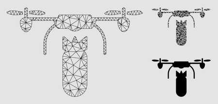 Modèle de bombardier de drone maillé avec icône de mosaïque triangulaire. Réseau polygonal de carcasse de fil de bombardier de drone. Collage vectoriel d'éléments triangulaires de différentes tailles et teintes de couleur. Bombardier abstrait de drone de maille 2d, Vecteurs