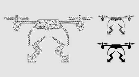 Mesh drone strike model with triangle mosaic icon. Wire frame polygonal mesh of drone strike. Vector mosaic of triangle elements in different sizes and color hues. Abstract flat mesh drone strike, Reklamní fotografie - 124323710