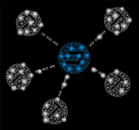 Bright mesh Dash mining network with glare effect. Abstract illuminated model of Dash mining network icon.