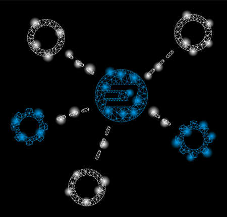 Bright mesh Dash network structure with glare effect. Abstract illuminated model of Dash network structure icon. Ilustração