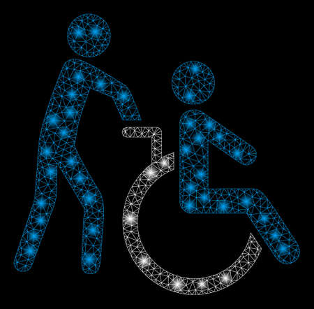 Bright mesh disabled person transportation with lightspot effect. Abstract illuminated model of disabled person transportation icon.