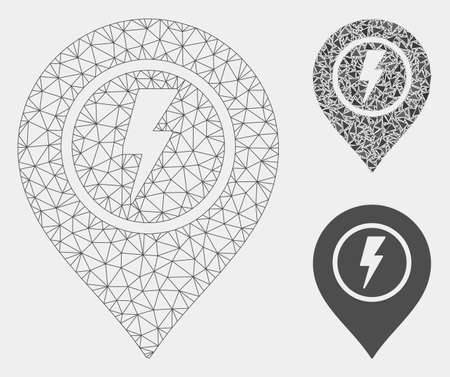Mesh electric marker model with triangle mosaic icon. Wire frame polygonal mesh of electric marker. Vector mosaic of triangle elements in variable sizes and color tints.