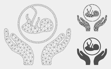 Mesh embryo care hands model with triangle mosaic icon. Wire carcass triangular mesh of embryo care hands. Vector collage of triangle parts in variable sizes and color shades.
